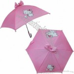 Pink Children's Umbrella with Plastic Handle, 26-inch Total Length