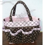 Pink Polka Dot in Brown Large Bingo bag