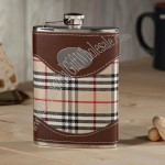 Plaid and Leather Hip Flask