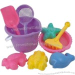 Plastic 9-pc beach bucket set with digging tools and sea creatures.