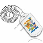 """Plastic Dog Tag with 23 1/2"""" Ball Chain, Digitally Printed"""