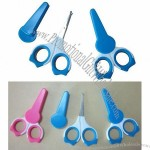 Plastic Handle Baby Manicure Scissors with Protected Cap
