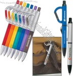 Plastic pen with carabiner clip, black ink with medium point.