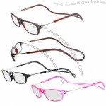Plastic Reading Glasses with Magnet, New Funky Design, Neck Hanging Style