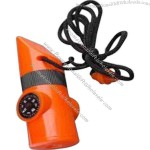 Plastic whistle compass. plastic housing with 20mm thermometer with magnifier 3x.
