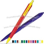 Plunger action ballpoint has three sides, 3 different imprints in 3 different colors