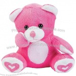 Plush Valentine Bears with Embroidered Hearts