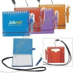 Pocket Spiral Notebook-on-a-rope W/ Pen