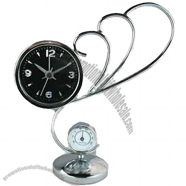 Imprinted Table Cloth ... Clocks » Designer Clocks » Pointer Iron Table Clock with Thermometer