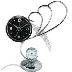 Pointer Iron Table Clock with Thermometer