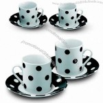 Polka Dot Design Coffee Mug with Saucers