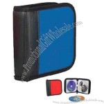 Polyester 24 piece CD / DVD holder with full zippered closure.