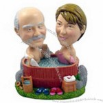 Polyresin Couple In A Hot Tub Bobblehead