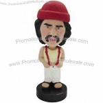 Polyresin Man In Tank Top With Overalls Bobblehead