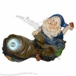 Polyresin solar power dwarf with LED light