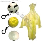 Poncho in Soccer Ball - Disposable raincoat packed in a small soccer ball key chain