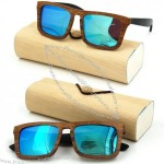 Popular Clear Frame Polarized Wooden Sunglasses with Case
