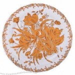Porcelain Plate with Floral Design and Gold Decal