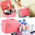 Portable Makeup Organizer - Includes Multiple Compartments + Flip-Out Mirror