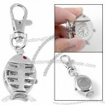 Portable Quartz Keychain Watch w Fish Design Pendant
