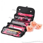 Portable Roll-up Cosmetic Bag with Four Large Zipper Pockets