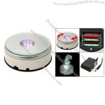 Portable Round Silvery 7 LED Colorful Light Rotating Display Stand