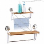 Powder-Coated And Bamboo Bathroom Rack With Powerful Suction Cups