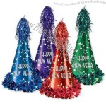 Printed foil Happy New Year cone hat with fringe/tassel, elastics attached