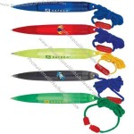 Promotional Twist action plastic ballpoint pen with break-away rope.