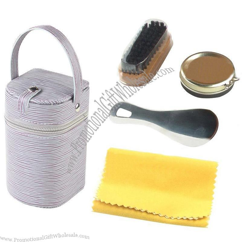promotional pu leather zipper design shoe care kit gift