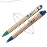 Recycled cardboard pen with wood clip
