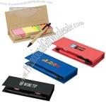 Recycled Desktop Set with Ruler, Sticky Note Pads, Flags, Paper Pen
