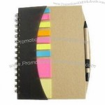 Recycled Kraft Paper Notebook with Pen and Post-it Flags