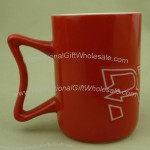 Red Ceramic Mug with Creative Handle