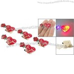 Red Heart Rose Design 3 LEDs Flashing Breastpin Brooch
