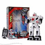 Remote Control Shooting White Robot with LED Light, White and Silver Options