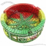 Resin Ashtray with Cannabis Leaf