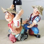 Resin Figures Crafts Farmer Carrying Wine Bottle Holder
