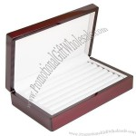 Rosewood Color Glossy Finish Jewelry Ring Case Display Cuff Links Body Jewelry Storage Box With Ring Rows