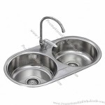 Round Double Bowl Stainless Steel Kitchen Sink