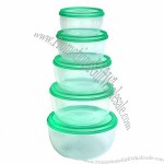 Round Food Storage Box Set With Transparent PP