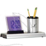 Round Pencil Cup - LED clock and pencil cup