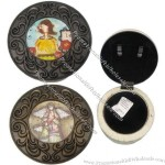 Round-shape Plastic Jewelry Music Box with Chinese Style Pattern