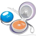 Round translucent plastic case holds thirty six CD's with zipper enclosure.