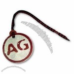 Rubbed Surface Screen-printed Aluminum Hangtag with Woven Tape and U-shaped Metal Clip Attached