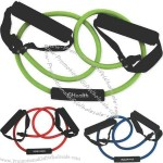 Rubber exercise resistance body band with foam grips.