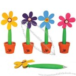 Rubber flower pen with orange plastic pot.