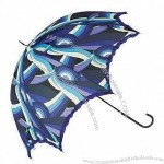 Ruffle Dome Shaped Umbrella with Black PU Handle and Metal Tips