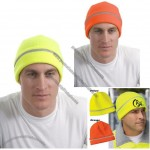 Safety Embroidered Beanie with Reflective Stripe