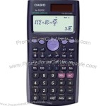 Scientific calculator with 2 line natural textbook display.